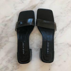 Size 8 Nine West black pvc strap slide sandals
